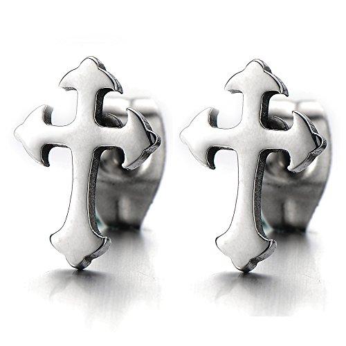 Unisex Plain Cross Earrings Stainless