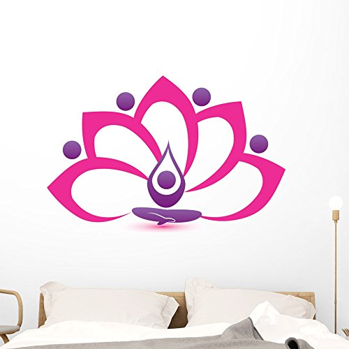 Wallmonkeys FOT-72462864-48 WM362141 Lotus Pink Flower Symbol Vector Logo Design Peel and Stick Wall Decals (48 in H x 46 in W), Extra - Inch 46 Wall Logo Art