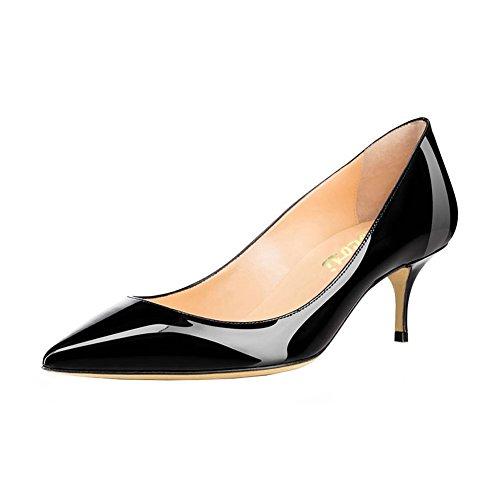 Patent Low Leather Heel - VOCOSI Women's Closed Pointed Toe Low Kitten Heel Wedding Party Dress Pumps P-Black 8 US