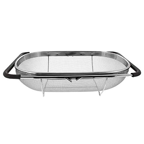 (Makerstep Stainless Steel Oval Colander Strainer Basket, For Kitchen Sink with Rubber Grip, Fine Mesh Stainless Steel, Large, Over The Sink, Expandable ● Metal Strainer for Pasta, Food, Vegetables,)