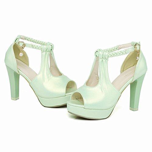 Carolbar Womens Plattform Peep Toe Fläta Krängt Brudklänning Sandaler Mintgrön