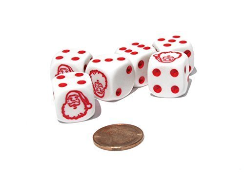 Set of 6 Santa Claus 16mm D6 Round Edge Christmas Dice - White with Red Pips ()
