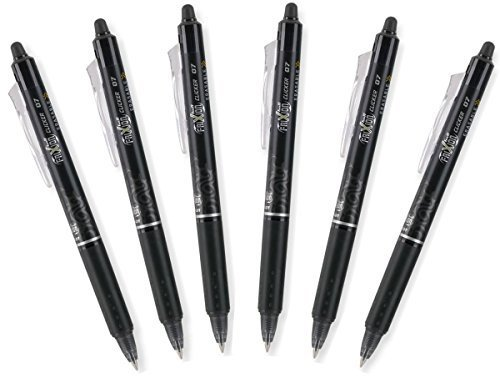 - Pilot FriXion Clicker 0.7mm, Erasable Gel Pens, Fine Point, Black Ink, Pack Of 6