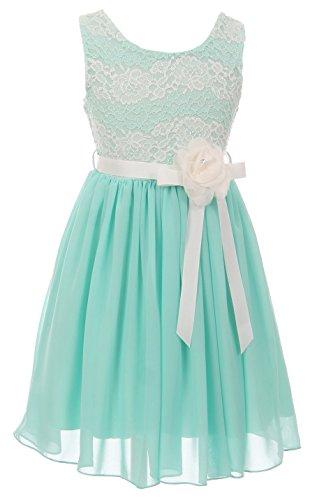 Big Girls' Sleeveless Floral Lace Chiffon Holiday Party Flower Girl Dress USA Mint 8 (J21KS34)
