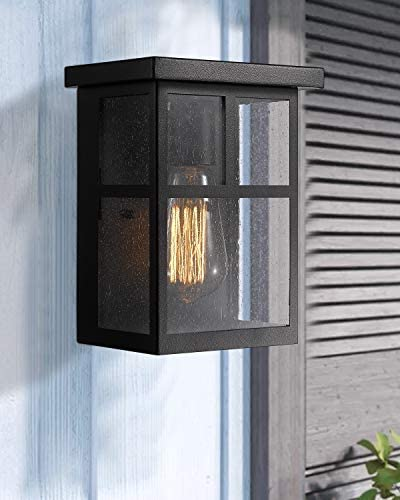 Zeyu 1-Light Outdoor Porch Lantern Wall Mount, Exterior Wall Light Sconce in Black Finish with Seeded Glass Shade, 02A14004 BK