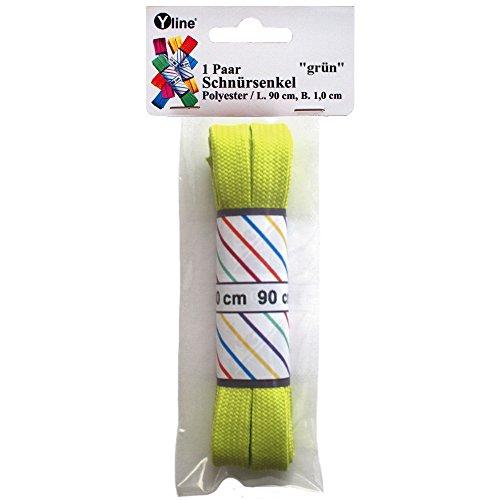 1 Paar Schnürsenkel farbig, Flachsenkel 90 cm x 1 cm, Schuhband, Schuhriemen, Senkel flach bunt, Schuh- Band, 2472 (grün)