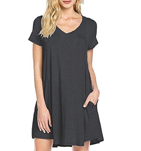 Vestito Donna Hippolo nero Estivo a M grigio Scollatura V Abito Manica scuro Corta wOqxfEOTF