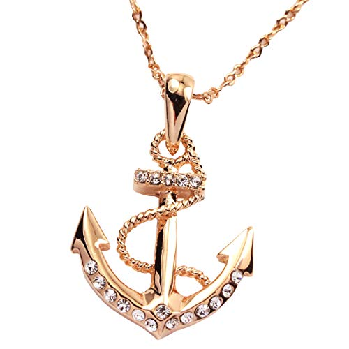 FC JORY 18k Rose Gold GP Diamante Crystal CZ Nautical Anchor Necklace (Necklace Gold Anchor)