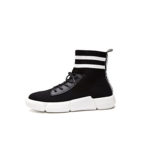 Calzado deportivo mujer calcetines calcetines stretch zapatos zapatos deportivos negros de alta para ayudar a flat, negro, 35 35|black