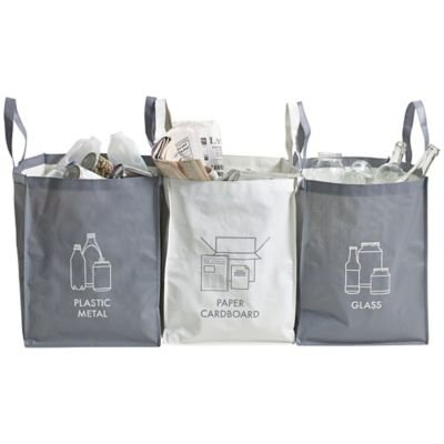 Pack Of 3 x 44L Reusable Strong Recycling Bags With Handles & Fastening Hook lakeland