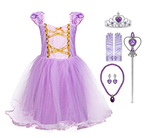 Princess Cinderella Rapunzel Little Mermaid Dress Costume for Baby Toddler Girl (2T, Rapunzel with -