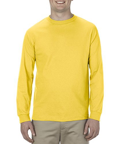 Alstyle Apparel AAA Men's Classic Cotton Long Sleeve T-shirt, Yellow, Small - Yellow Long Sleeved Shirt