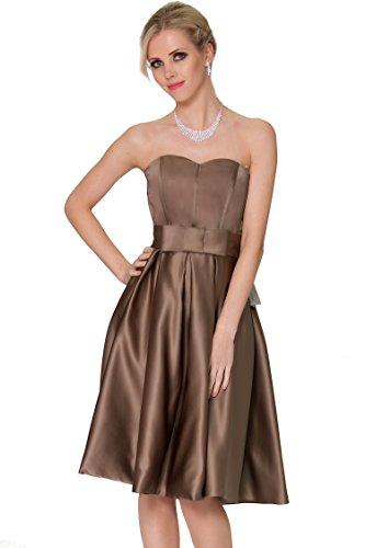 SSEXYHER tirantes magn¨ªfico longitud de la rodilla vestido de c¨®ctel de damas de honor-COJ 1668 Brown-29DS