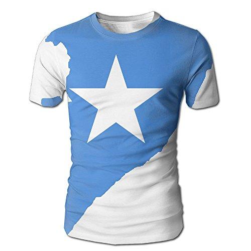 Somalia Flag Map Men's 3D Full Printed T-Shirt Casual Short Sleeves Tees by Tailing