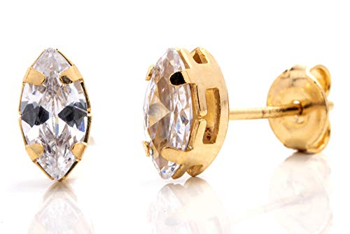VIVA Tiny 18K Gold Plated Marquise-Cut Cubic Zirconia Stud Earrings (Stud Marquise Zirconia Cubic)