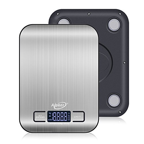 Kitchen Scales, Aipker High Accuracy Multifunction Digital Food Cooking Scale for Food Calories Weight Loss Diabetes Weight Watchers (1g/5kg,0.035oz/11lb)