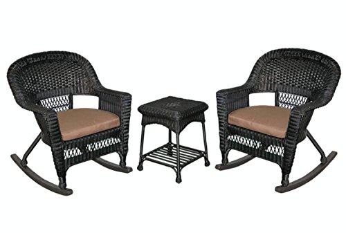 3-Piece Tiana Black Resin Wicker Patio Rocker Chair & Table Furniture Set - Brown Cushions price