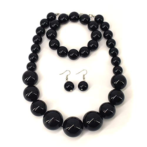 - Utop Chunky Pearl Choker Necklace, Large Pearl Statement Necklace, Trending Choker Pearl Wedding Jewelry for Brides, Boho Pearl Jewelry Set (Black)
