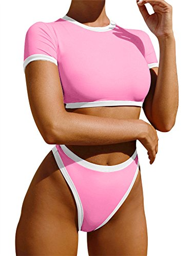 GOBLES Women's Short Sleeve High Waisted Bikini Set Swimsuit Bathing Suits Pink by GOBLES