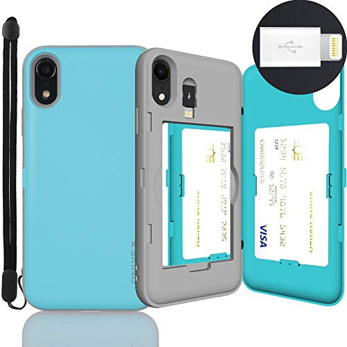 iPhone XR Case, SKINU [Xr Wallet Strap] XR Charger Dual Layer Hidden Credit Holder Card Case with Wrist Strap Inner USB to 8 Pin Adapter and Mirror for iPhone XR (2018) - Teal
