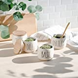 Rae Dunn Herb Jars with Wooden Lids, Set of 4