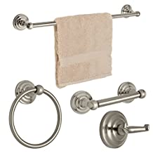 "Dynasty Hardware 3800-SN-4PC Palisades Series Bathroom Hardware Set, Satin Nickel, 4-Piece Set, With 24"" Towel Bar"