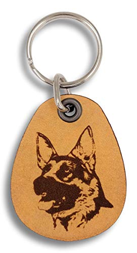 ForLeatherMore - German Shepherd - Genuine Leather Keychain - Pet Key ()
