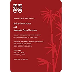 Chinese Double Happiness Bamboo Red Wedding Invitations