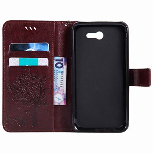 Yiizy Samsung Galaxy J7 (2017) Custodia Cover, Alberi Disegno Design Premium PU Leather Slim Flip Wallet Cover Bumper Protective Shell Pouch with Media Kickstand Card Slots (Marrone)