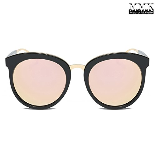 MMK collection Polarized Spring and Summer Full-Rim Cute Round Bold Brow Bars Style Metal Frame Unisex Lady Beach Sunglasses with Matching Case (Black/Brown, - Cheap Mk Sunglasses