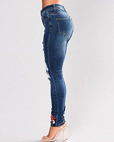 Pantalons Stretch Fonc Jeans Bleu Slim Taille Femme Pants Haute Trous ZhuiKun Dchirs Broderie Denim Crayon HqwvTnFB