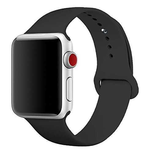 [3 Pieces] Band for Apple Watch 38mm,JOKHANG Soft Silicone Sport Band [2 Lengths] Large/Small Wrist Strap Replacement for Apple Watch 2015 & 2016 & 2017 All Models 38mm - Black -