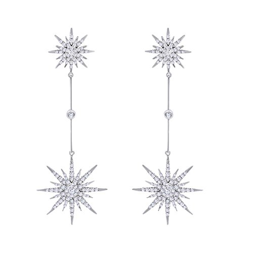 Christmas Sale 14K Solid White Gold White Natural Diamond Starburst Dangle Stud Earrings ()