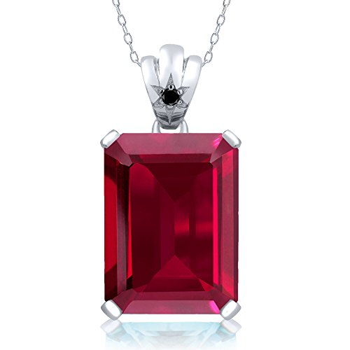 17.03 Ctw Emerald Cut Red Created Ruby Black Diamond 925 Sterling Silver Pendant With 18