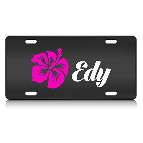 edy-female-name-metal-license-plate-frame-black