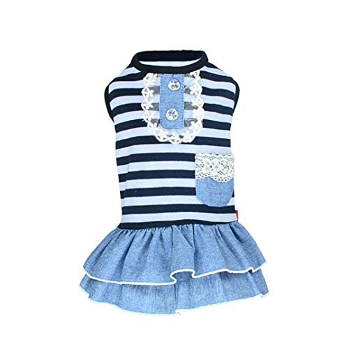 Jim-Hugh Puppy Tutu Dress for Dogs Striped Lace Dresses Pets Costume Party Clothes Small Dog ()