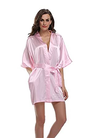 Sunnyhu Women's Pure Color Kimono Robe, Short (S, Baby Pink)