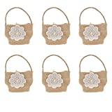 Agordo 6pcs Mini Flower Basket Natural Burlap Hessia Candy Gift Bags Wedding Favor
