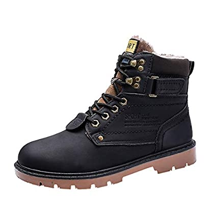 Walking Boots Mens Waterproof Combat Boots British Army Boots Men Leather Ankle Boots Lace Up Winter Warm Snow Boots