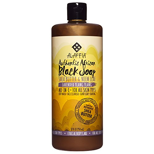 Alaffia - Authentic African Black Soap, All-in-One Body Wash, Shampoo, and Shaving Soap, All Skin and Hair Types, Fair Trade, No Parabens, Non-GMO, No SLS, Lavender Ylang Ylang, 32 Ounces