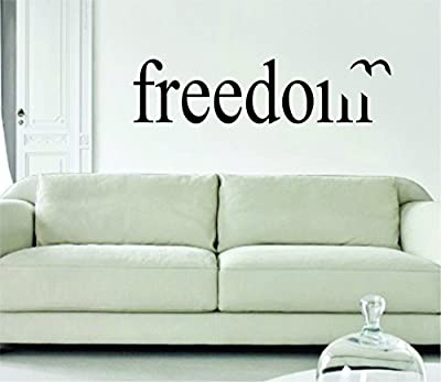 Freedom with Bird LARGE Design Quote Words Decal Wall Vinyl Art Sticker Girl Teen Baby Daughter