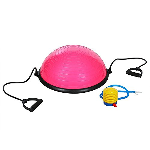Z ZTDM Yoga Half Balance Trainer Ball Fitness Strength Exercise Balance Ball with Resistance Bands & Pump (Pink)