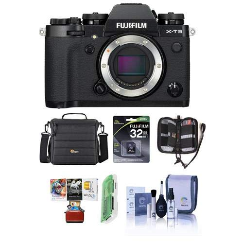 Fujifilm X-T3 Mirrorless Camera Body, Black - Bundle with 32GB SDHC U3 Card, Camera Case, Cleaning Kit, Memory Wallet, Card Reader, Mac Software Package
