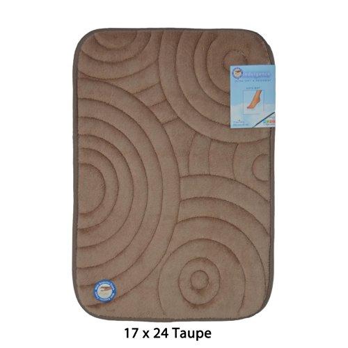 Rug Swirls Seventeen (Taupe Memory Foam Bath Mat/area rug: Non-skid, Absorbent, 17 X 24 or 20 X 30 (Circle Swirl, 17x24))