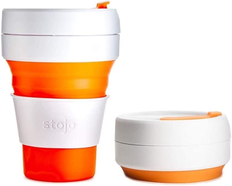 Stojo On The Go Coffee Cup | Pocket Size Collapsible Silicone Travel Cup – Orange, 12oz / 355ml | No Straw Included