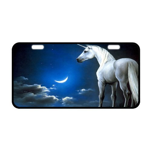 Unicorn With A Horn Crescent Moon Night Durable Aluminum Car License Plate 11.8