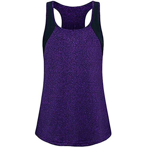 Lovor Women's Athletic Yoga Tops Workout Tanks Hiking T-Shirt Casual Summer Sleeveless Cami Tank Tops Tunic Blouse(Purple,M) ()