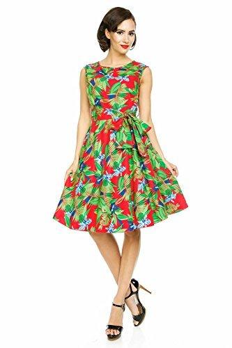 Looking Glam Mujer 1950 Retro Vintage Ahora Hepburn Tropical Té De Hojas Swing Vestido De Fiesta