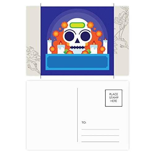 (Mexico Candy Skeleton Day Of Dead Flower Postcard Set Thanks Card Mailing Side 20pcs)