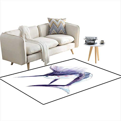 Extra Large Area Rug Watercolor Swordfish Blue Marlin Hand-Drawn Illustration isolateon White backgroun 48